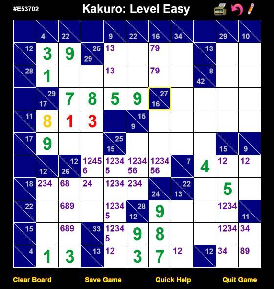 Kakuro Game Board