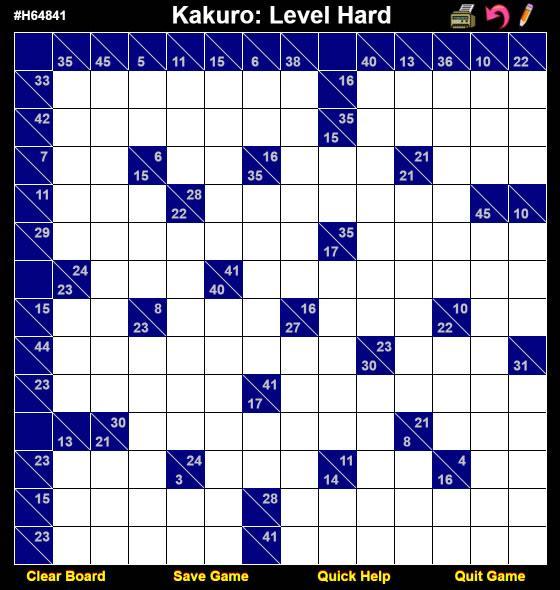 Kakuro Hard Level Sample